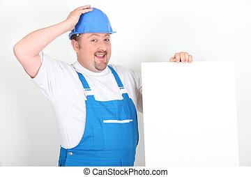 vide, ouvrier, haut, tenue, signe