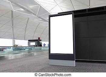 vide, panneau affichage, aéroport