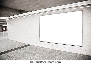 vide, panneau affichage, salle