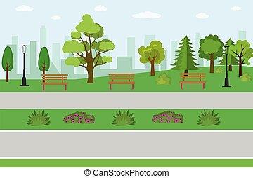 vide, parc, public
