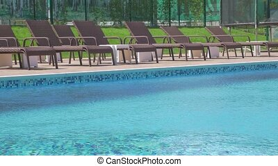 vide, piscine, chaise longue