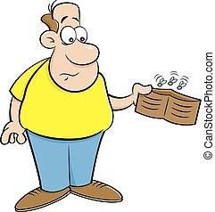 vide, portefeuille., dessin animé, tenue, homme