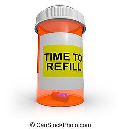 vide, prescription, bouteille, -, temps, à, recharge