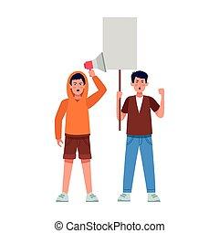 vide, protestating, porte voix, dessin animé, affiche, garçons