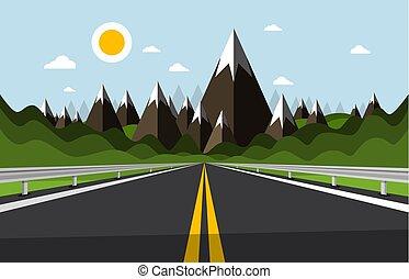 vide, route, à, montagnes, et, collines, sur, arrière-plan.,...