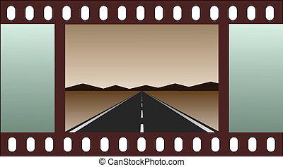 vide, -, route, bande film