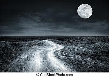 vide, route rurale, aller, par, prairie, à, pleine lune, nuit
