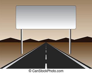 vide, route, -, vide, panneau affichage