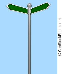 vide, rue, 3d, render, signe