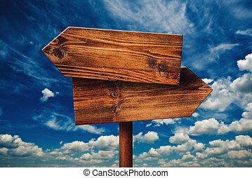 vide, rustique, opposé, direction, bois, signe, contre, nuages