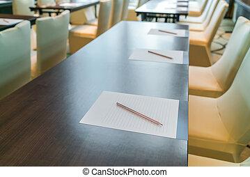 vide, salle conférence, avant, réunion, .