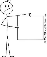 vide, signe., fâché, homme, vecteur, tenue, illustration, homme affaires, dessin animé, ou