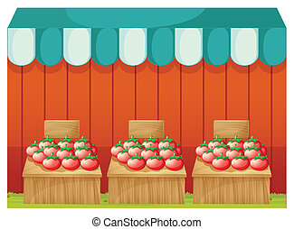 vide, stand, signboards, tomates