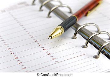 vide, stylo, planificateur, temps