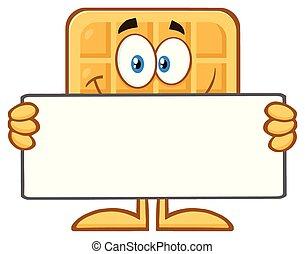 vide, tenue, signe, carrée, gaufre, dessin animé, mascotte, sourire, caractère