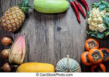 vide, thème, citrouille, piment, concept., légumes, copie,...