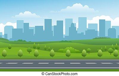 vide, urbain, vallée, fond, route
