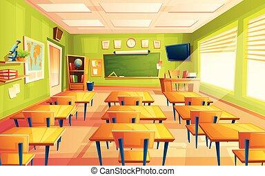 vide, vecteur, école, collège, dessin animé, classe