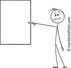 vide, vecteur, homme affaires, ou, dessin animé, signe, illustration, pointage, projection, vertical, homme souriant