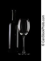 vide, verre vin, bouteille