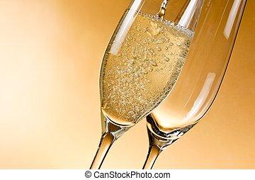 vide, verres champagne, et, une, être, rempli