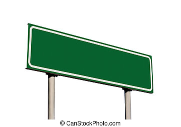 vide, vert, isolé, panneaux signalisations