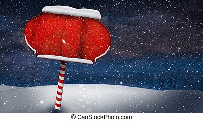 vide, vidéo, neige, rouges, scène hiver, composition, signe, sur