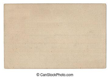 vide, vieux, isolé, carte postale, blanc