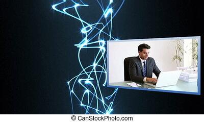 videi, di, riunione affari