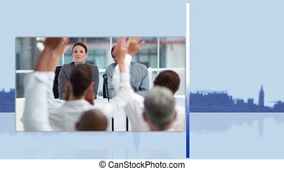 videi, di, uno, riunione affari