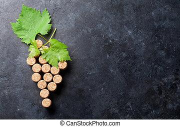 videira, forma, vinho, uva, cortiças
