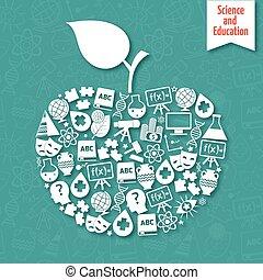 videnskab, æble, arealerne
