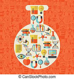 videnskab, begreb, illustration, ind form, i, tube.