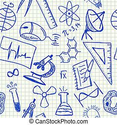 videnskab, doodles, seamless, mønster