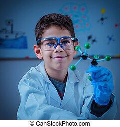 videnskab, education., cute, dreng, holde, molekylær modeller