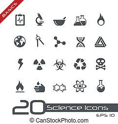 videnskab, iconerne, //, basics