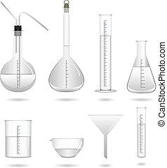 videnskab, kemiskt laboratorium., udrustning