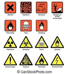 videnskab, laboratorium, sikkerhed, tegn