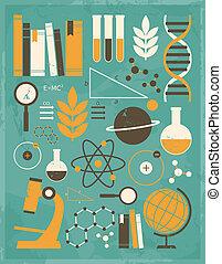 videnskab, og, undervisning, samling