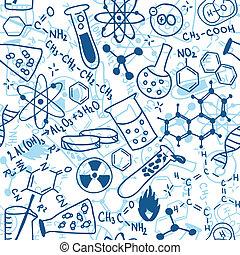 videnskab, seamless, mønster