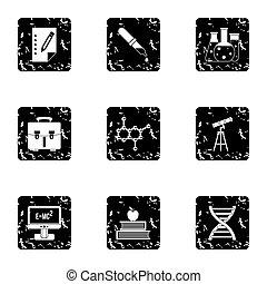 videnskab, undervisning, iconerne, sæt, grunge, firmanavnet