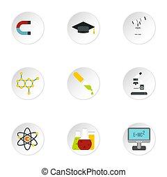 videnskab, undervisning, iconerne, sæt, lejlighed, firmanavnet