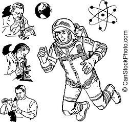 videnskab, vinhøst, vektor, grafik