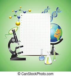 videnskabelige, genstænder, hos, blank, avis