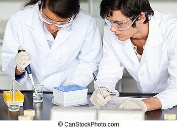 videnskabsmænd, indgåelse, en, experiment