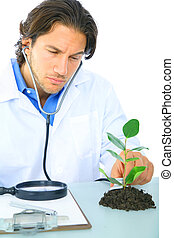 videnskabsmand, checking, sundhed, i, en, liv