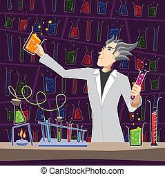 videnskabsmand, hos, apparatur kemi