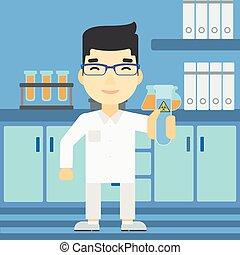 videnskabsmand, hos, prøve rør, vektor, illustration.