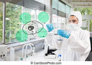 videnskabsmand, ind, beskyttende tøjsæt, arbejder, hos,...