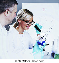 videnskabsmand, ind, kemiskt laboratorium.
